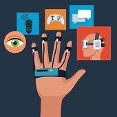 wired sensor glove technology creativity icons