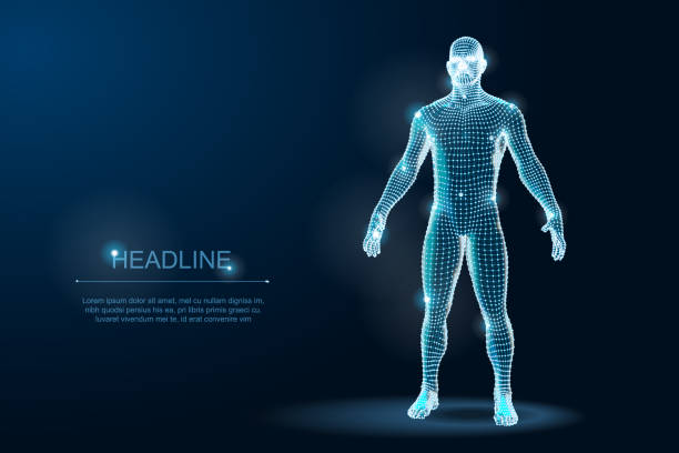 wireframe 3d man body geometry with dots and stars on dark background. vector illustration - wire frame model stock illustrations