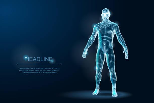 illustrazioni stock, clip art, cartoni animati e icone di tendenza di wireframe 3d man body geometry with dots and stars on dark background. vector illustration - corpo