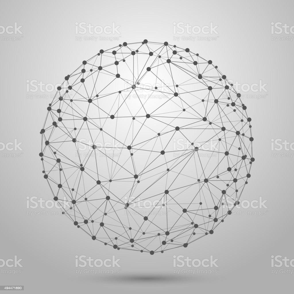 Wireframe 3D mesh polygonal vector sphere vector art illustration