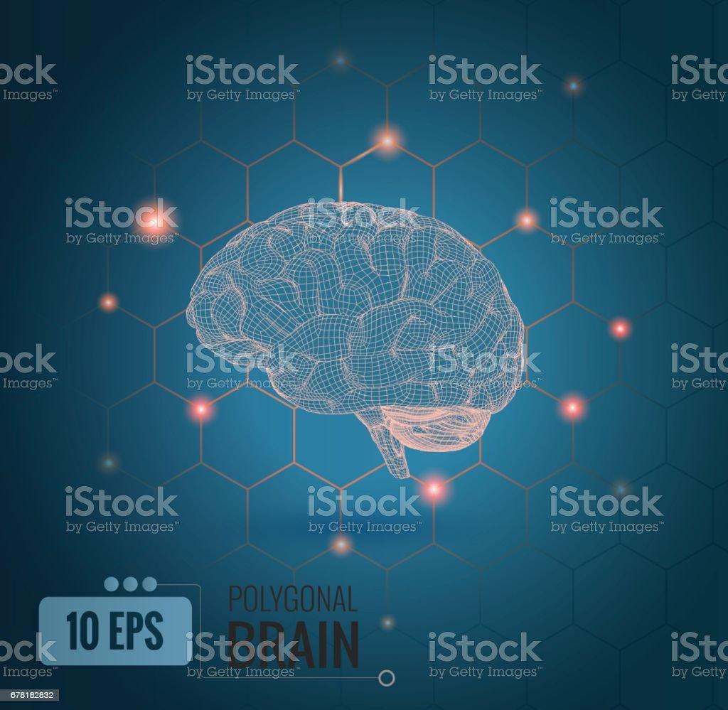 Ilustración de cerebro de alambre con los puntos de conexión BG - ilustración de arte vectorial
