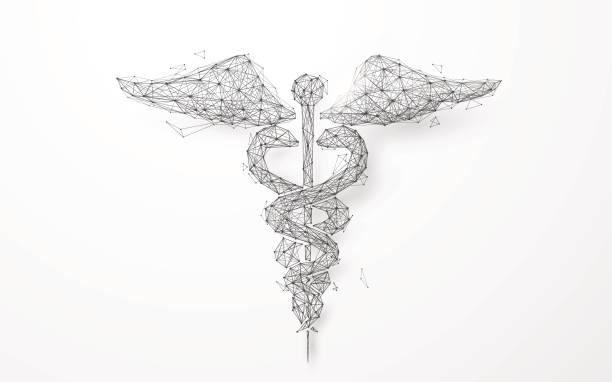 星空の背景からワイヤ フレーム カドゥケウス医療シンボル メッシュ - ヘルメスの杖点のイラスト素材/クリップアート素材/マンガ素材/アイコン素材