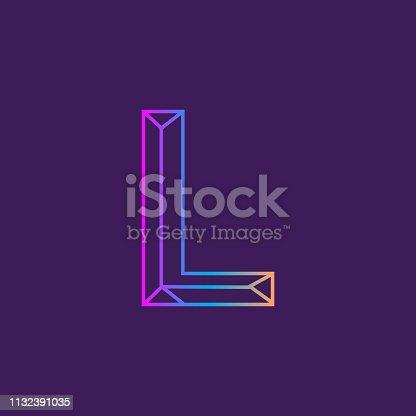 Vector illustration of a Wireframe Capital Letter outline bevelled 3D alphabet design. EPS 10
