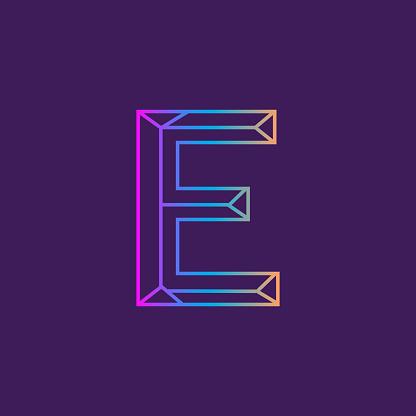 Wireframe Capital Letter outline bevelled 3D alphabet design