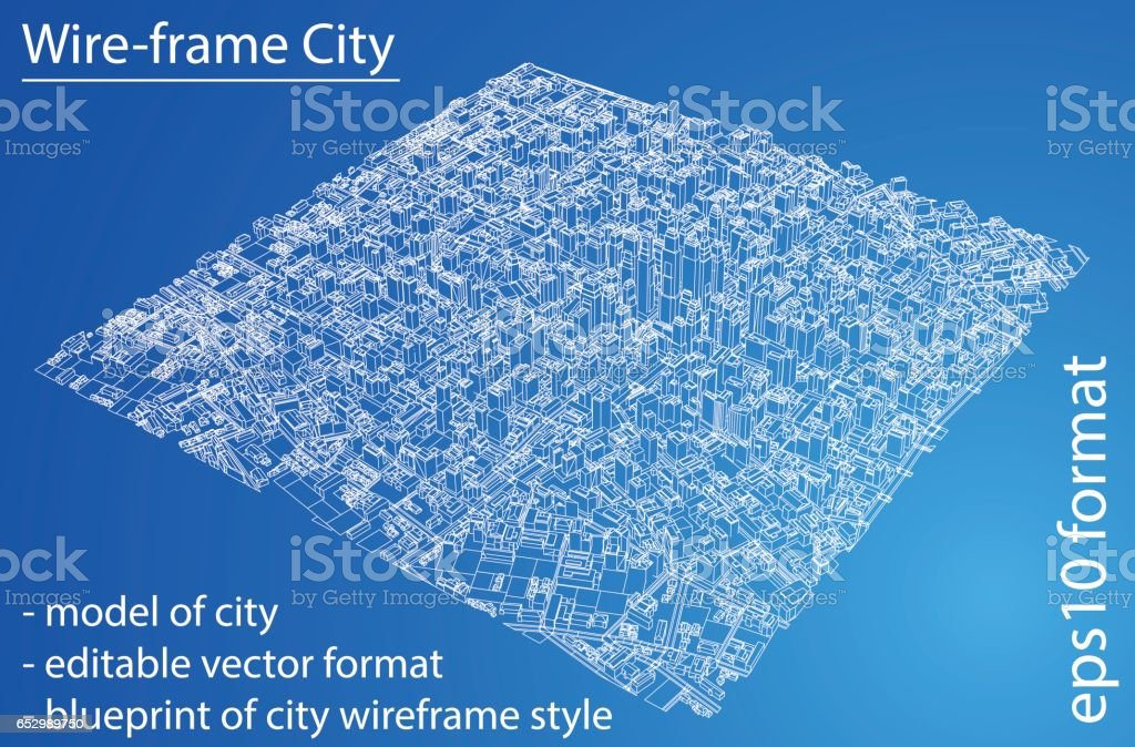 Wireframe city blueprint style 3d rendering vector illustration wire frame city blueprint style 3d rendering vector illustration royalty free wireframe malvernweather Images