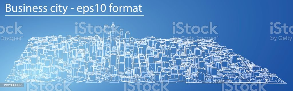 wire-frame city, blueprint style  3d rendering vector illustration  royalty-free wireframe