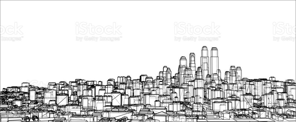 Wireframe City Blueprint Style Stock Vector Art & More
