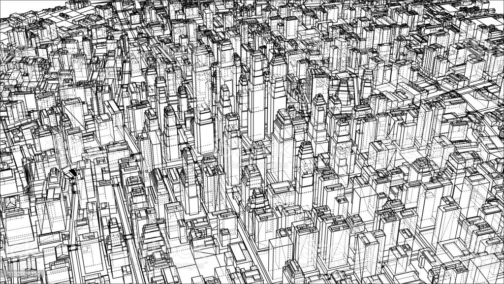 Wireframe City Blueprint Style Stock Illustration - Download