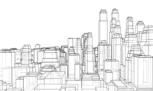 Wire-frame City, Blueprint Style. Vector clipart