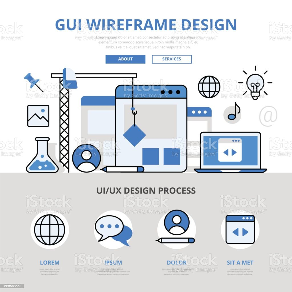 Gui Wireframe Design Concept Flat Line Art Vector Icons Modern ...