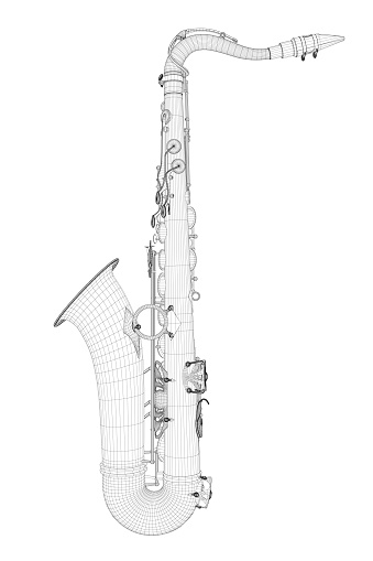 Wire-frame detailed saxophone isolated on white background. Side view. 3D. Vector illustration