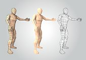 Wireframe human figure featuring something or somebody