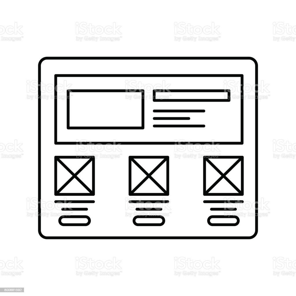 Wireframe In Screen Lined Icon Website Page In Browser Line Icon Web ...