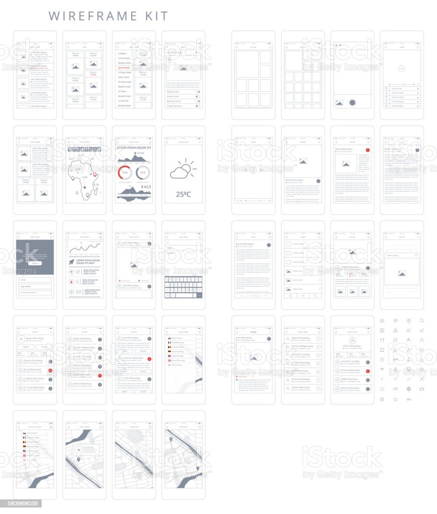 Wireframe Kit vector art illustration