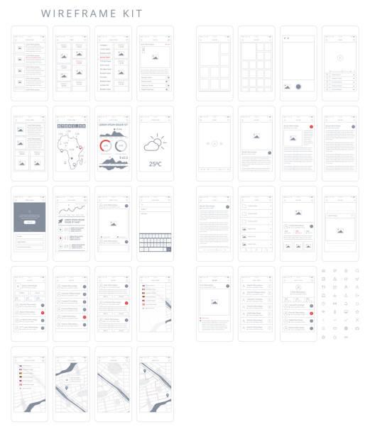 ilustrações, clipart, desenhos animados e ícones de wireframe kit - infográficos de site