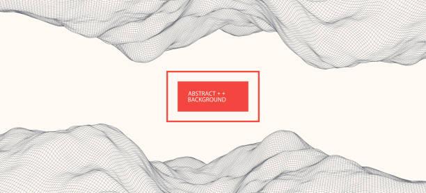 Wireframe-Landschaft Hintergrund. Futuristische Vektor-Illustration. – Vektorgrafik