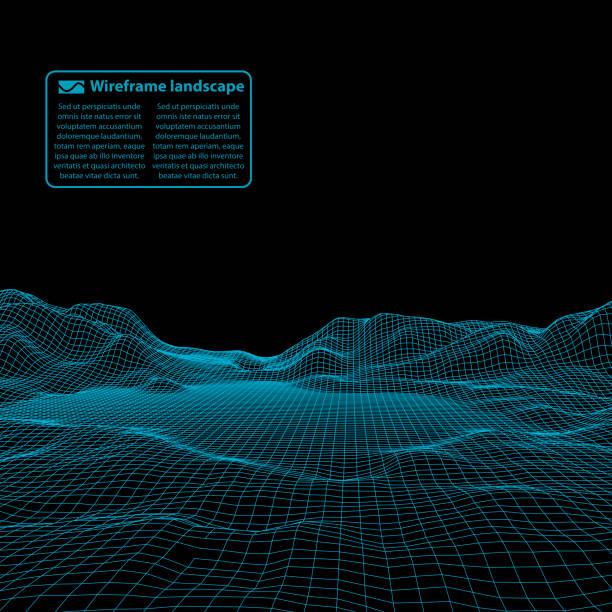 bildbanksillustrationer, clip art samt tecknat material och ikoner med wireframe landskap tråd. wireframe terräng polygon landskapsdesign. 3d landskap - landformation