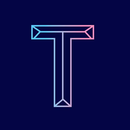 Wireframe Letter T outline bevelled 3D alphabet design