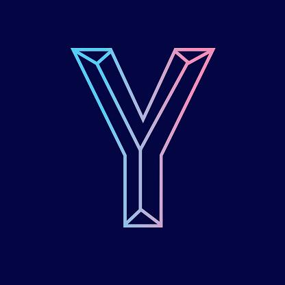 Wireframe Letter Y outline bevelled 3D alphabet design