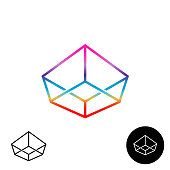 3D wireframe linear rainbow color symbol. Crown angular cube sign.
