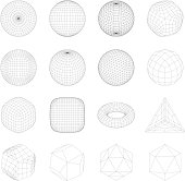 Wireframe mesh objects. Network line, HUD design sphere. Abstract 3d icons set. Isolated on white background
