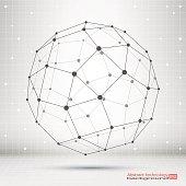 Wireframe mesh polygonal element.