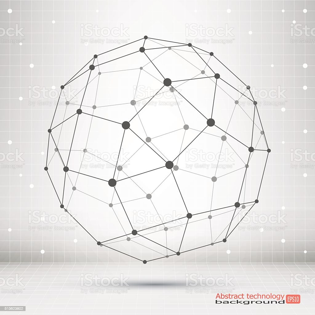 Wireframe mesh polygonal element. vector art illustration