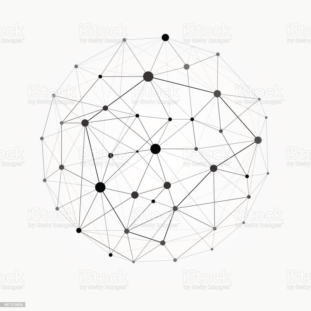 Wireframe mesh polygonal sphere. Network line, design sphere, dot and structure illustration vector art illustration