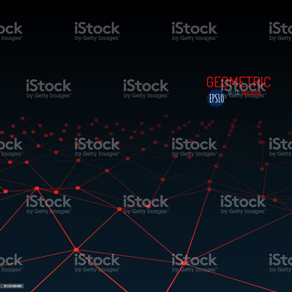 Wireframe mesh polygonal surface. Mountains with connected lines and dots vector art illustration