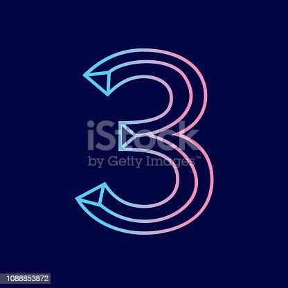 Vector illustration of a Wireframe number 3D alphabet lettering design . EPS 10