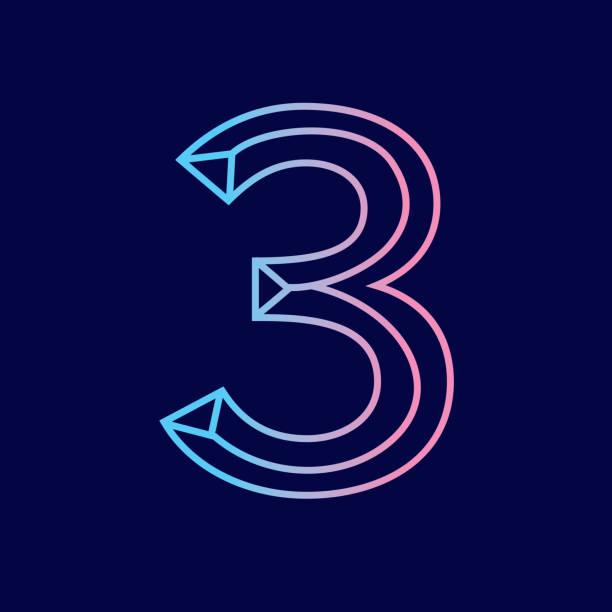 Wireframe number 3 outline bevelled 3D alphabet design vector art illustration
