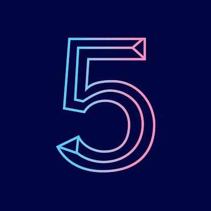 Wireframe number 5 outline bevelled 3D alphabet design