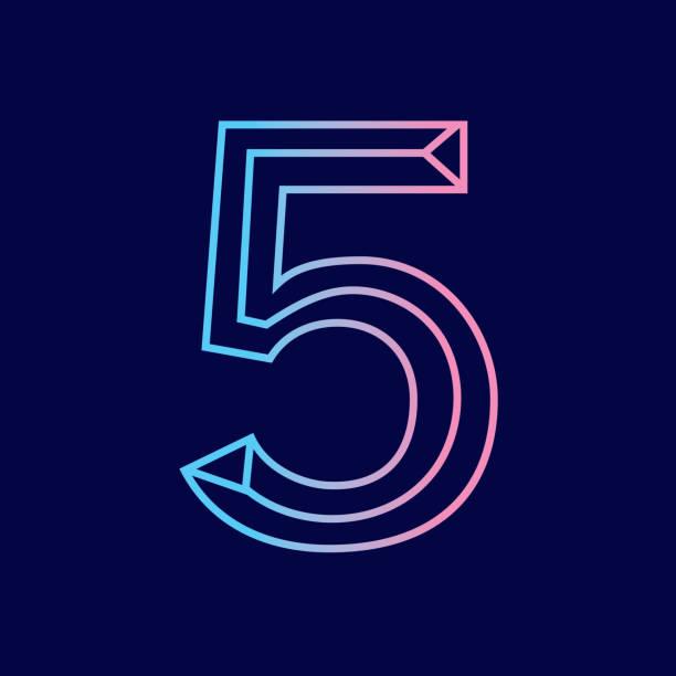 Wireframe number 5 outline bevelled 3D alphabet design vector art illustration
