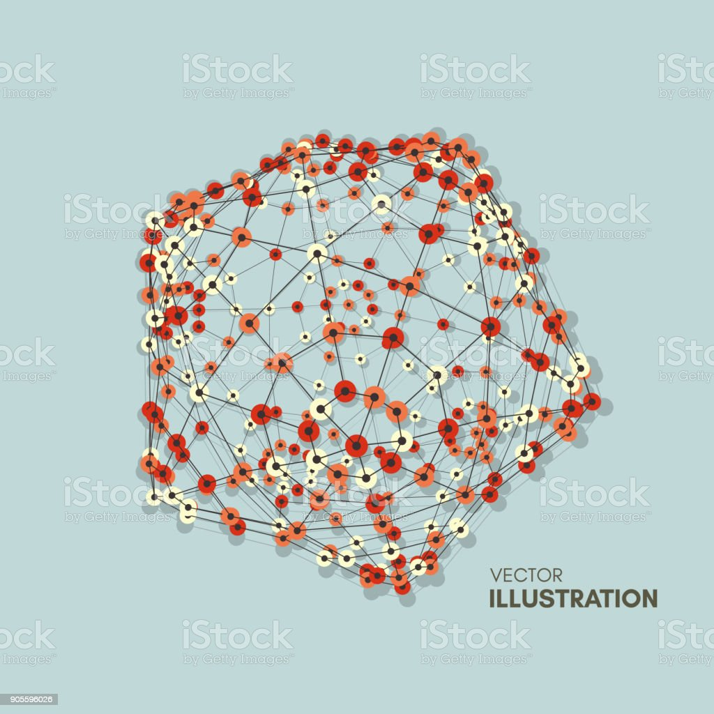 Wireframe Object With Lines And Dots Abstract 3d Connection ...