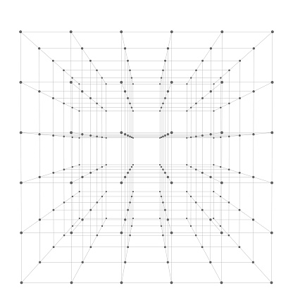 Wireframe of 5x5x5 = 125 small cubes. With perspective.