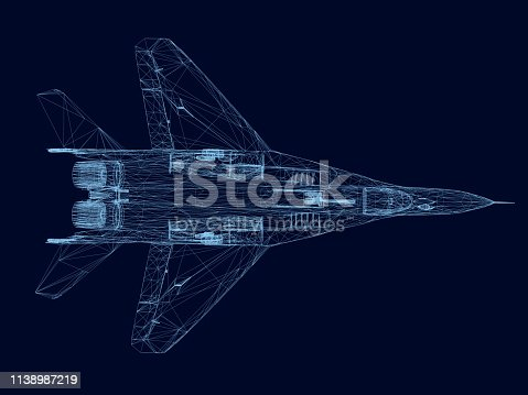 Wireframe of a fighter of blue lines on a dark background. View from above. 3D. Vector illustration.