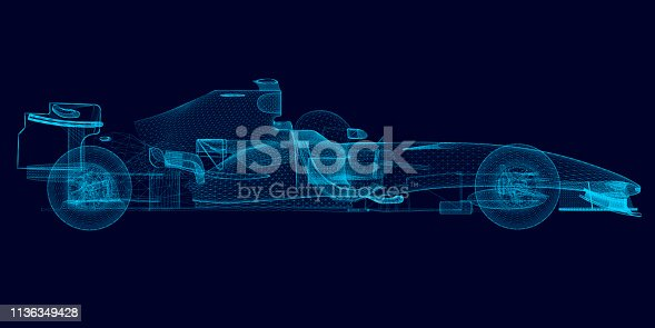 Wireframe of a polygonal racing car of blue lines on a dark background. 3D. Side view. Vector illustration.