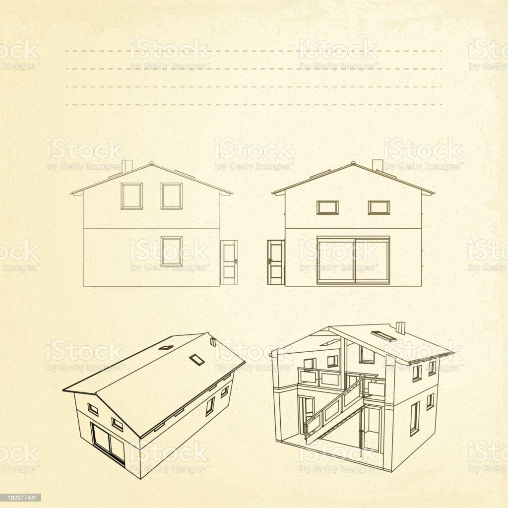 Wireframe of building. royalty-free stock vector art