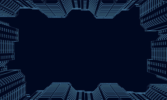 Wireframe of polygonal high-rise buildings of blue lines on a dark background. Bottom view. 3D. Vector illustration