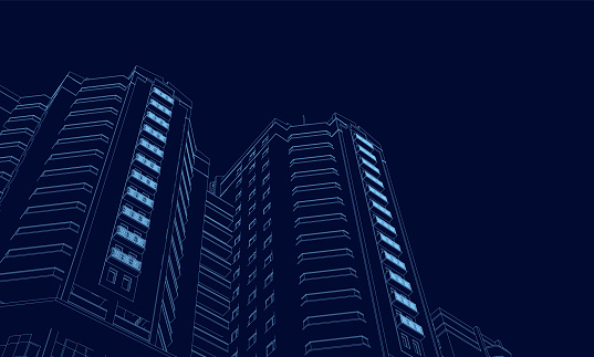 Wireframe of the building of the blue lines on a dark background. 3D. Polygonal building in perspective. Vector illustration clipart