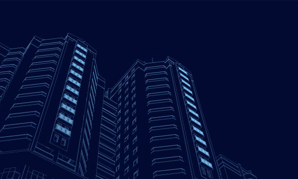 Wireframe of the building of the blue lines on a dark background. 3D. Polygonal building in perspective. Vector illustration Wireframe of the building of the blue lines on a dark background. 3D. Polygonal building in perspective. Vector illustration. hotel stock illustrations