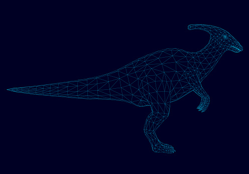 Wireframe of the dinosaur of the blue lines on a dark background