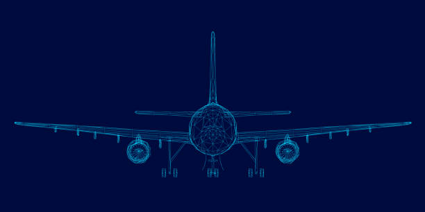 Wireframe of the passenger aircraft of the blue lines on a dark background. Front view. Vector illustration Wireframe of the passenger aircraft of the blue lines on a dark background. Front view. Vector illustration. airport designs stock illustrations