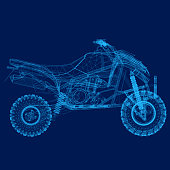 Wireframe of the quad of blue lines on a dark background. 3D. Vector illustration.