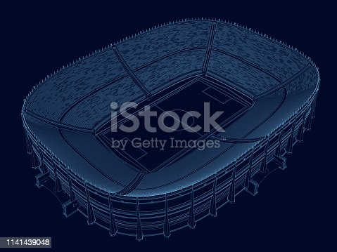 Wireframe of the stadium. Isometric view. Stadium of blue lines on a dark background. 3D. Vector illustration.
