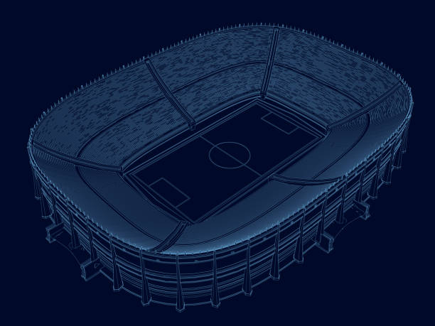 Wireframe of the stadium. Isometric view. Stadium of blue lines on a dark background. 3D. Vector illustration Wireframe of the stadium. Isometric view. Stadium of blue lines on a dark background. 3D. Vector illustration. stadium stock illustrations