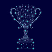 Wireframe of the winning cup with glowing lights. Polygonal goblet of blue lines on a dark background. 3D. Vector illustration.
