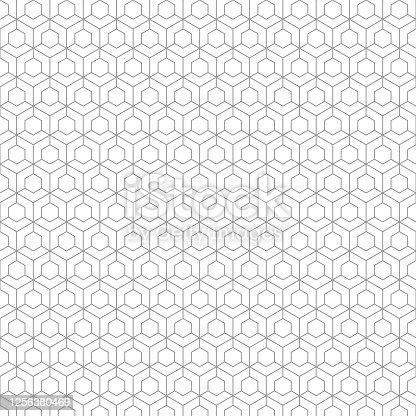 istock Wireframe pattern, hexagonal base. On white background,. 1256380469