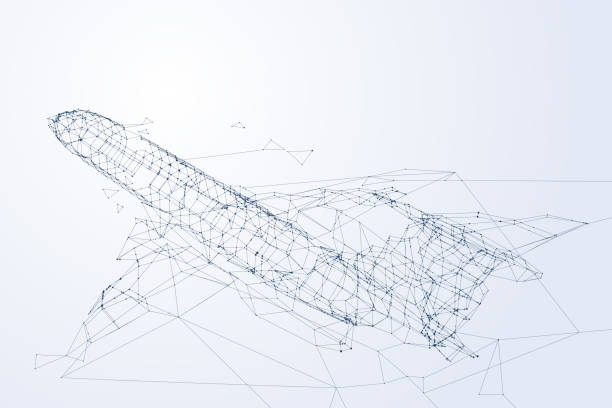 Wireframe plane flying up, network of the airplane and technology concept Wireframe plane flying up, network of the airplane and technology concept, vector art and illustration. airport backgrounds stock illustrations