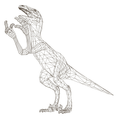 Wireframe polygonal dinosaur. Isolated on a white background dinosaur with an open mouth. 3D. Vector illustration